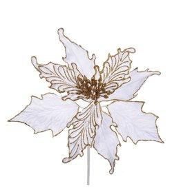 Kurt Adler Poinsettia Pick White Velvet With Gold Glitter Accents 10Inch