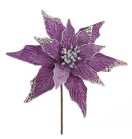 Kurt Adler Lavender And Silver Poinsettia Pick 15 Inch