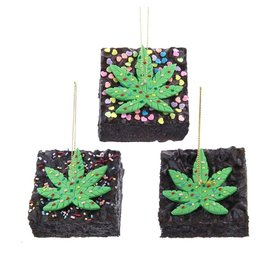Kurt Adler Foam Cannabis Brownie With Sprinkles Ornaments 3 Assorted
