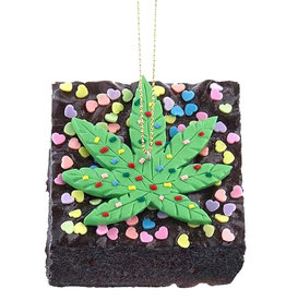 Kurt Adler Foam Cannabis Brownie Ornament With Heart Sprinkles