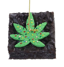 Kurt Adler Foam Cannabis Brownie Ornament With Chocolate Chips
