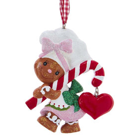 Kurt Adler Gingerbread Girl Chef With Candy Cane Ornament