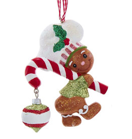 Kurt Adler Gingerbread Boy With Candy Cane Ornament