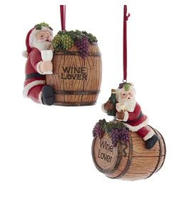 Kurt Adler Santa On Wine Barrel Ornaments 2 Assorted