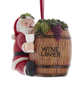 Kurt Adler Santa On Wine Barrel Ornament - Style A