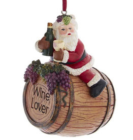 Kurt Adler Santa On Wine Barrel Ornament - Style B