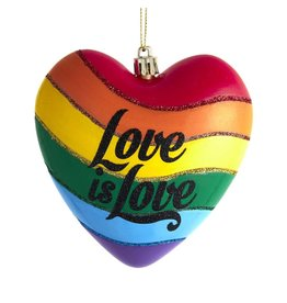 Kurt Adler Gay Pride Rainbow Love Is Love Heart Ornament