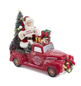Kurt Adler Fabriche Santa Pick Up Truck W Light Up Trees Table Piece