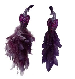 Kurt Adler Purple Peacock Clip-On Ornaments 2 Assorted