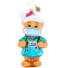 Christopher Radko Dr. Ted E. Bear Ornament Covid-19 Pandemic Themed