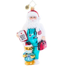 Christopher Radko Dr. Claus Cares Ornament Covid-19 Pandemic Themed