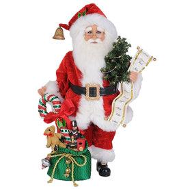 Karen Didion Lighted Candy Cane Gift Bag Santa Christmas Collectible 17H