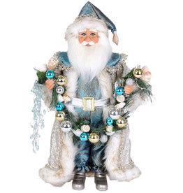 Karen Didion Lighted Coastal Swag Santa Christmas Collectible 17H