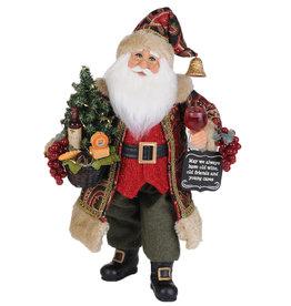 Karen Didion Lighted Wine N Cheese Sampling Christmas Santa Figure 17H