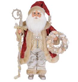 Karen Didion Red Coat Seashell Santa Christmas Collectible 17H