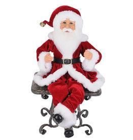 Karen Didion Traditional Pose-able Santa Figures 15H Set of 2 Santa's