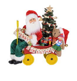 Karen Didion Lighted Merry Christmas Wagon Santa Collectible 20H