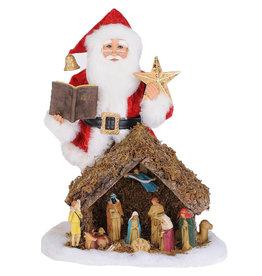 Karen Didion Lighted Nativity Santa Collectible 17H