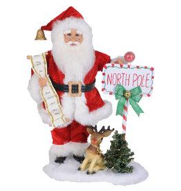 Karen Didion Lighted North Pole Santa Christmas Collectible 18H