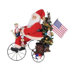 Karen Didion Lighted Patriotic Trike Santa Collectible 18H
