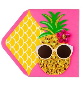 PAPYRUS® Birthday Card Sequin Pineapple With Sunglasses