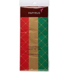 PAPYRUS® Christmas Tissue Paper 9 Sheets Trio Holiday Red Gold Green