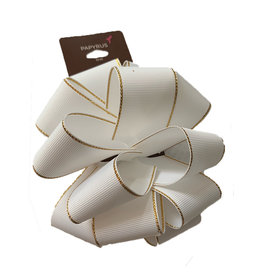 PAPYRUS® Gift Bows Pom Pom White Grosgrain With Gold Edge Bow