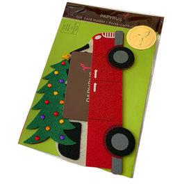 PAPYRUS® Christmas Gift Card Holder Die Cut Felt Van W Christmas Tree
