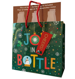 PAPYRUS® Christmas 6PK Beer Beverage Gift Bag W Opener Joy In A Bottle