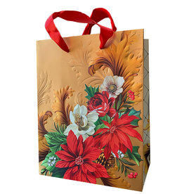 PAPYRUS® Christmas Gift Bag Medium 7x9x4 Holiday Poinsettia
