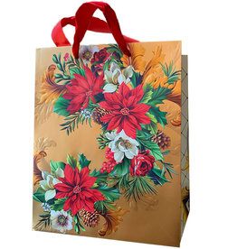 PAPYRUS® Christmas Gift Bag LG 10x13x5.75 Holiday Poinsettia