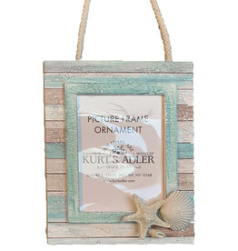 Kurt Adler Coastal Picture Frame Ornament W Starfish And Sea Shells