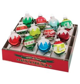 Christopher Radko Shiny Brite Decorated Rounds Ornaments 12CT 1.75in