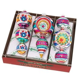 Christopher Radko Shiny Brite Ornaments Decorated Shapes 3CT 7inch