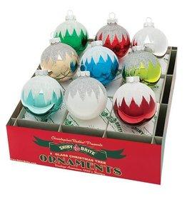 Christopher Radko Shiny Brite Ornaments Snowcap Rounds 9CT 2.5inch