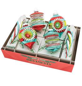 Christopher Radko Shiny Brite Ornaments Mixed Shapes 6CT