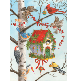 Caspari Decorated Birdhouse Boxed Christmas Cards 16pk