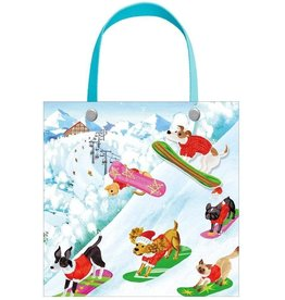 Caspari Christmas Gift Bag Small 5.75 SQ Inch Off Leash