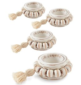 Mud Pie Beaded Wood Tassel Napkin Rings Set of 4