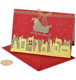 Papyrus Boxed Christmas Cards Handmade Glittered Sleigh 8pk