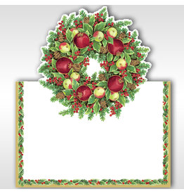 Caspari Christmas Place Cards Tent Style Williamsburg Wreath Set of 8