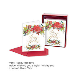 PAPYRUS® Boxed Christmas Cards 20pk Happy Holidays Cropped Florals
