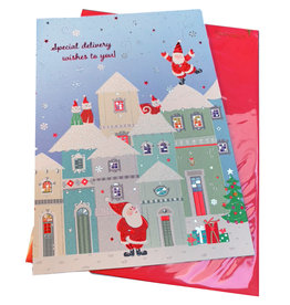 PAPYRUS® Christmas Card Santa's Trifold Village
