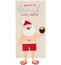 Mud Pie Santa Beach Dangle Legs Christmas Towel