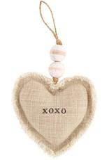 Mud Pie XOXO Heart Ornament Plush W Beading
