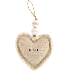 Mud Pie XOXO Heart Ornament Plush W Beading