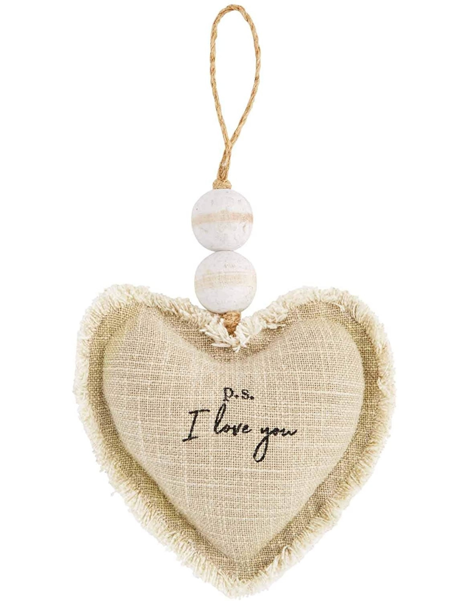 Mud Pie PS I Love You Heart Ornament Plush W Beading