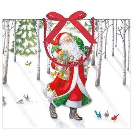 Caspari Christmas Gift Bag Large 11.75x4.75x10 Woodland Santa