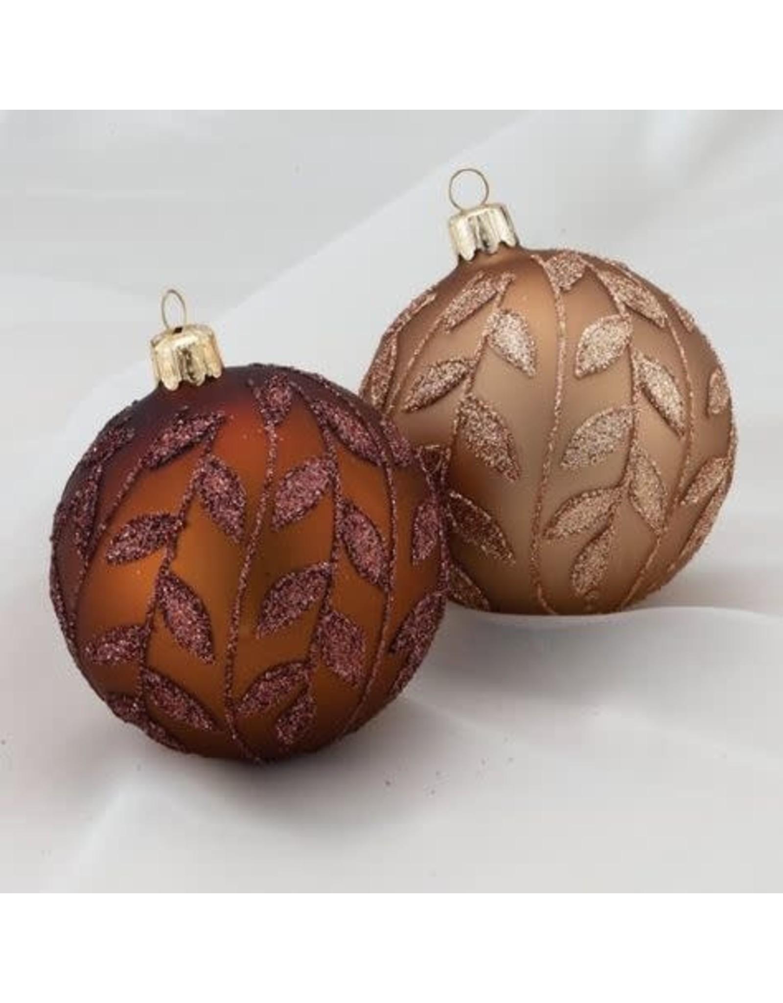 Kurt Adler 2-Tone Brown Glitter Leaf Ball Ornaments 4ct