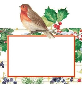 Caspari Christmas Place Cards Tent Style 8pk Winter Song Bird